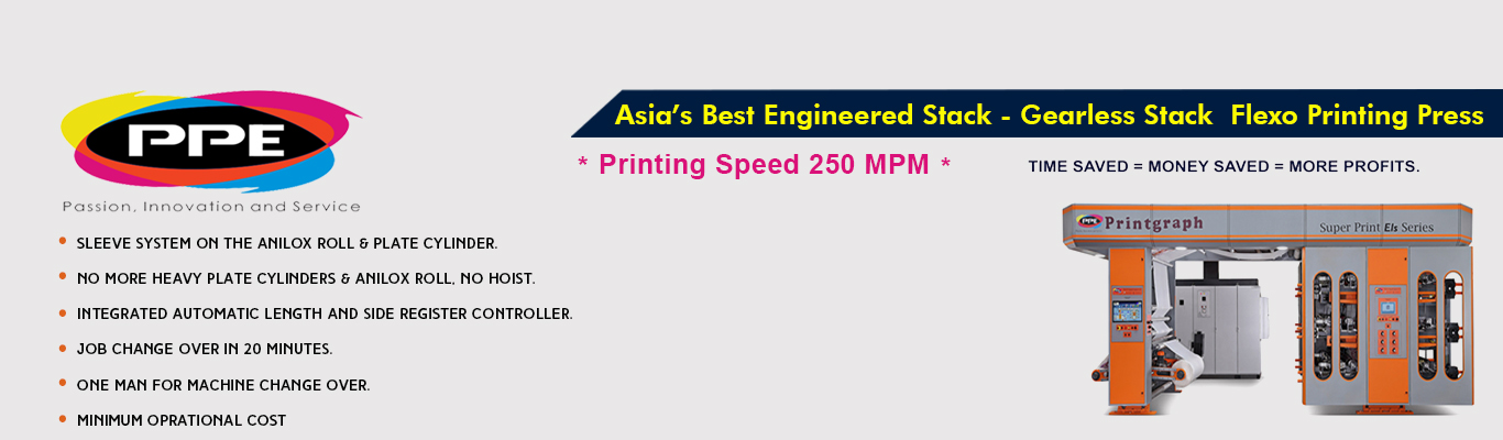 Asia's Best Engineered Gearless Stack - Flexo Printing Press