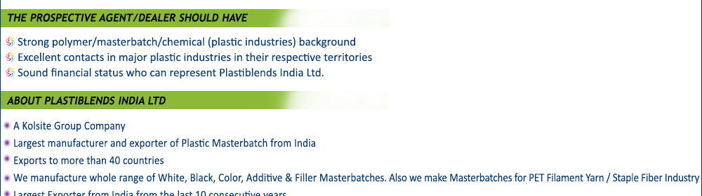 Distributors Solicited For Masterbatches