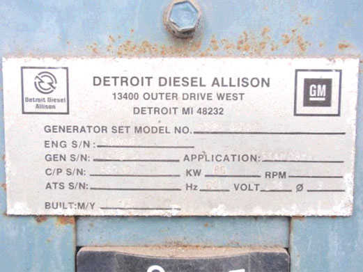 85 KW Detroit Diesel Generator Set in USA